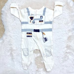 OLD NAVY SPACE CADET FOLD-OVER MIT FOOTED ONESIE